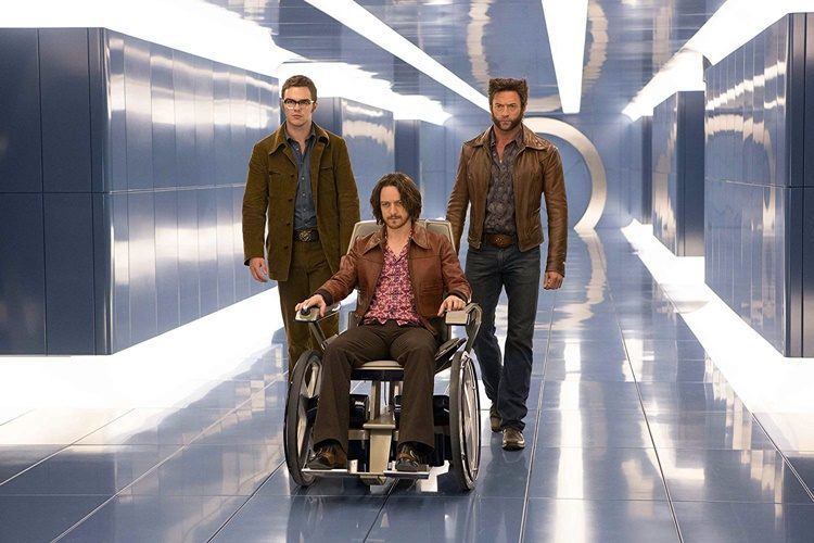 Nicholas Hoult (Beast), James McAvoy (Xavier), and Hugh Jackman (Wolverine) in X-Men: Days of Future Past