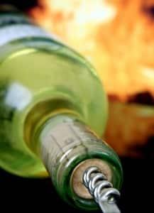 White wine and corkscrew