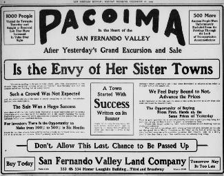 Pacoima Land Ad 1905