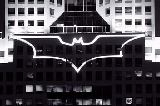 Batman logo projected on Pittsburgh building via Creative Commons