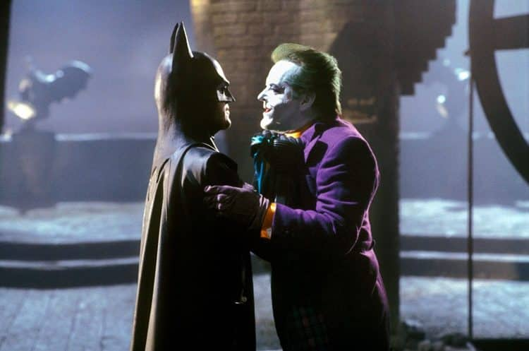 Batman (Michael Keaton) faces The Joker (Jack Nicholson)
