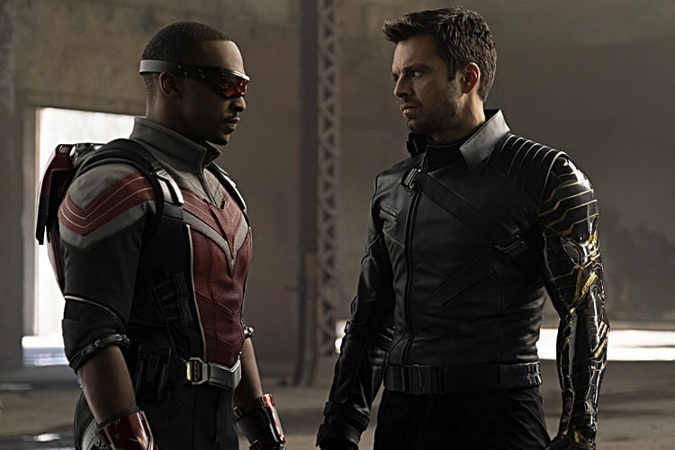 (L-R) Falcon/Sam Wilson (Anthony Mackie) and Winter Soldier/Bucky Barnes (Sebastian Stan) in Marvel Studios' THE FALCON AND THE WINTER SOLDIER EXCLUSIVELY ON Disney+. Photo by Chuck Zlotnick. (c) Marvel Studios 2020. All Rights Reserved.