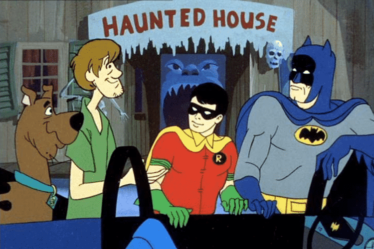 Scooby-Doo, Shaggy, Batman, and Robin